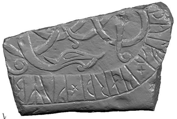 En grå, 3D-scannad bild av en liten bit av en runsten, där konturerna i stenen framkommer väldigt tydligt.
