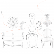Tecknade illustrationer av byrå, moraklocka, antik stol m fl