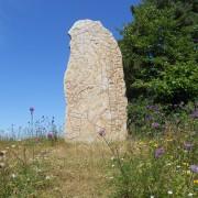 """En av de två runstenarna vid Källby ås i Västergötland (Vg 56) med texten """"Styrlak(?) satte denna sten efter Kår, sin fader""""."""