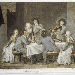 Allmoge i Småland. Akvarellerad punktgravyr från 1790-1800 av Fredrik Erik Martin efter original av Pehr Hilleström. Ur Rosenhanesamlingen.