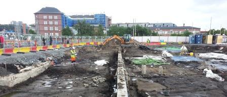 Arkeologisk undersökning i Göteborg av lämningarna efter den medeltida staden Nya Lödöse.