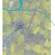 Karta Gamla Uppsala, monument: De röda markeringarna visar de två raderna av fundament.