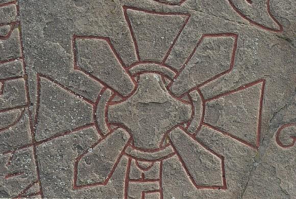 Detalj av korset på Järvstastenen (Gs 11) utanför Gävle.
