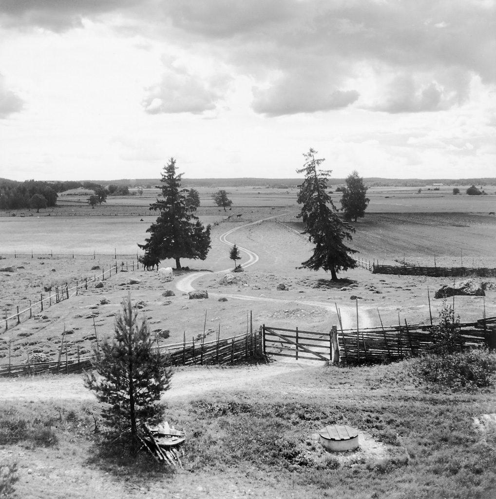 Åsvägen mellan Sundby och Jäder. Åsby, Södermanland, 1940