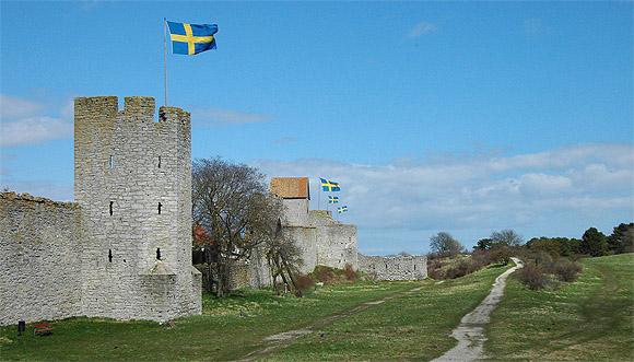 Visby ringmur, fotot är taget på valborgsmässoafton den 30 april 2013.