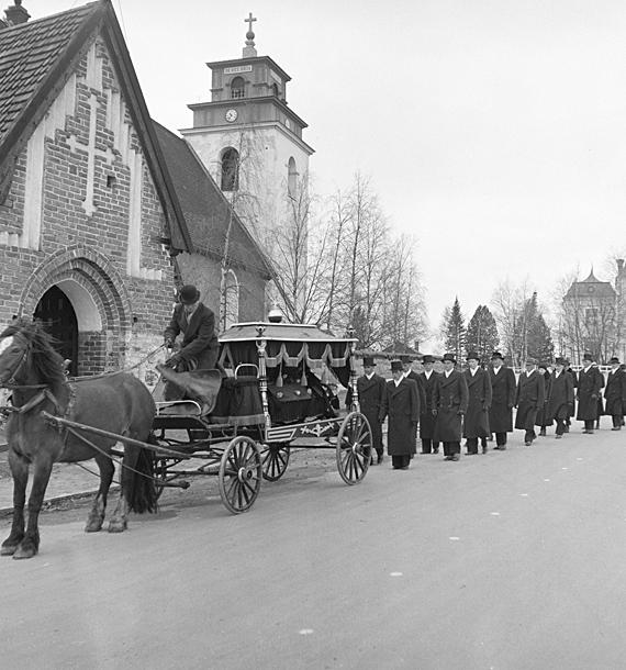 Begravning i Gammelstad. Bilden tagen på 1940-talet.