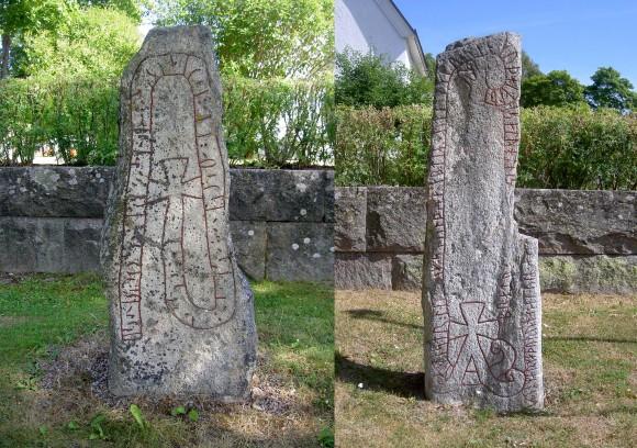 De båda runstenarna vid Högs kyrka i Hälsingland.