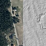 En skanslämning söder om Sandviken framträder tydligt i Lantmäteriets terrängmodell (RAÄ-nr Årsunda 43:1). Bilden till vänster visar ett ortofoto över samma område.