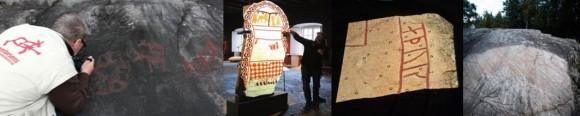 Imålning av hällristning, projicerad färgsättning på bildsten, 3D-scannad runsten och en rengjord runhäll.