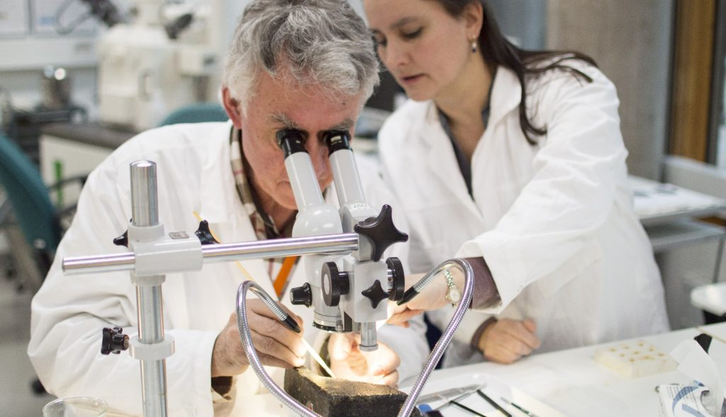 En man och en kvinna arbetar med ett föremål vid ett mikroskåp.