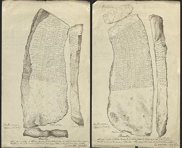 Rökstenen, Östergötland. Teckning av Pehr Arvid Säve den 4 oktober 1862. Ur Riksantikvarieämbetets arkiv, ATA.