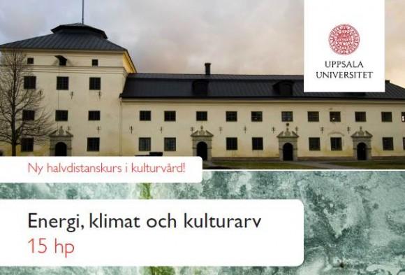 Framsidan på broschyren om kursen Energi, klimat och kulturarv, från Uppsala universitet Campus Gotland