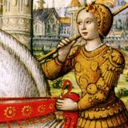 Jeanne d'Arc i rustning.