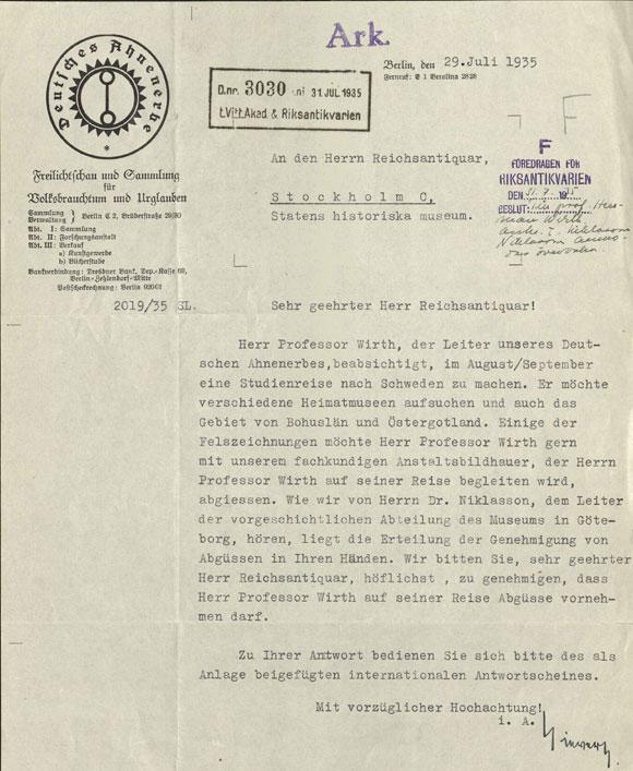Brev från Ahnenerbe till Riksantikvarieämbetet där man ansöker om tillstånd för att gjuta av hällristningar i Bohuslän under sommaren/hösten 1935 Riksantikvarieämbetets arkiv