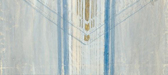 Antependium. Akvarell av Anna-Lisa Odelqvist-Kruse. Riksantikvarieämbetets arkiv/ ATA