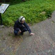 En kvinna sitter vid hällristningarna i Slagsta och känner med handen på stenytan.