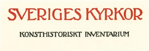 Detalj av äldre omslag till en volym av Sveriges kyrkor