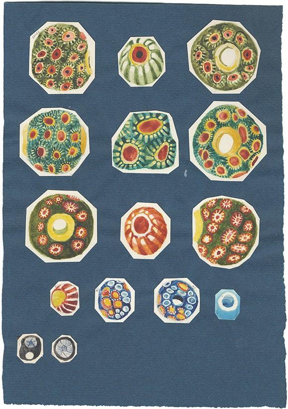 Akvarell av italienska pärlor. Gustav Eisens samling. Riksantikvarieämbetets arkiv/ATA