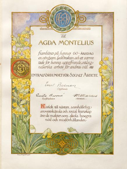 Hyllninsadress till Agda Montelius