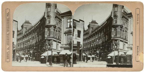 Arkaden i Göteborg. Stereofotografi från 1901.