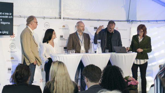 Panelen som diskuterade digitalisering och upphovsrätt i Almedalen 2017.