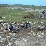 Arkeologisk utgrävning vid Triberga borg.