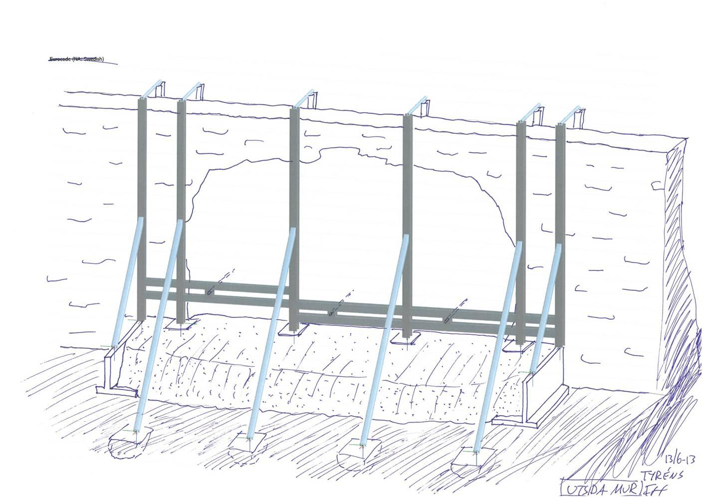 Skiss på hur stålkonstruktionen bärs upp av en gjuten platta, muren sett från utsidan.