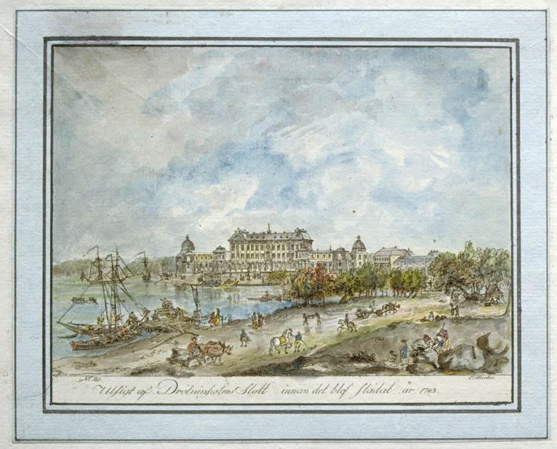 Drottningholms slott. Akvarellerad konturetsning av Martin Rudolf Heland efter Elias Martin.
