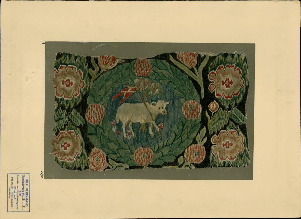 Bilden föreställer en vagnsdyna ur Zickermans studiesamling. Hemslöjden får bidrag för att fortsätta tillgängliggöra samlingen på Digitalt museum.