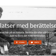 Skärmdump av Platser med berättelser, Riksantikvarieämbetes tjänst för berättelser och minnen.