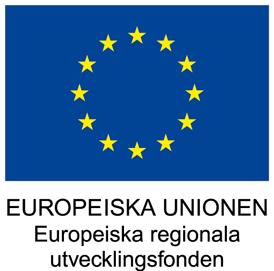 Blå bakgrund med gula stjärnor i ring med texten Europeiska unionen Europeiska regionala utvecklingsfonden