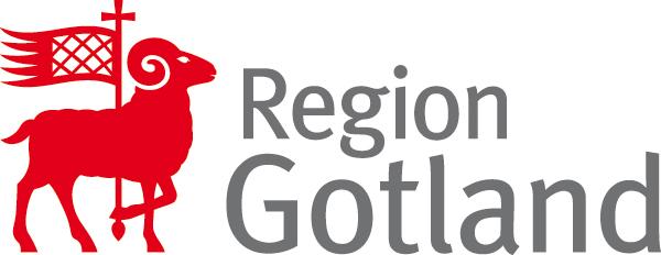 Rött gutefår med flagga samt text Region Gotland