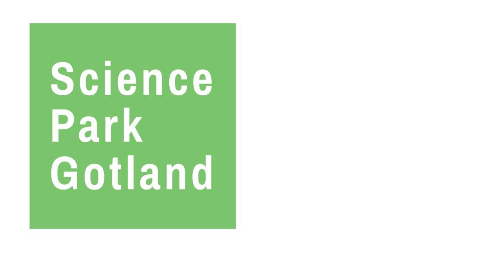 Grön ruta med vit text Science Park Gotland
