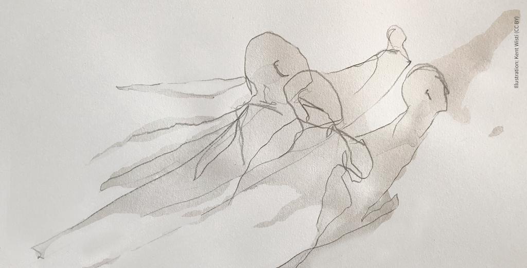 Illustration med siluetter i en flödande rörelse.