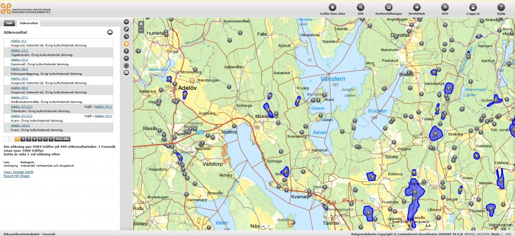 Skärmbild från Fornsök.
