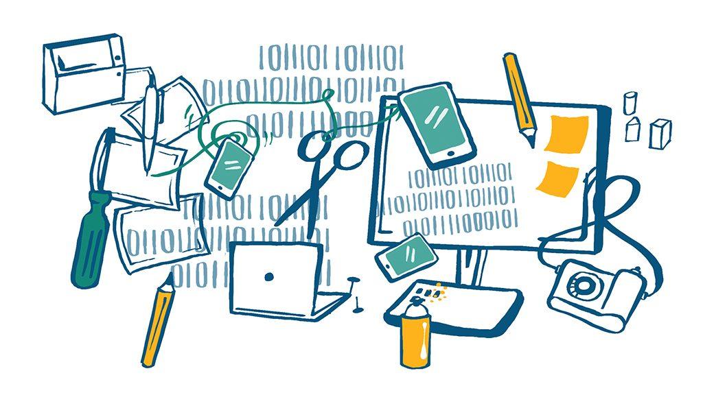 Collage av verktyg för webben