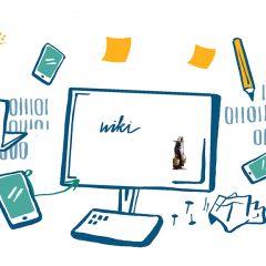 teckand bild av en bildskärm med verktyg runtomkring