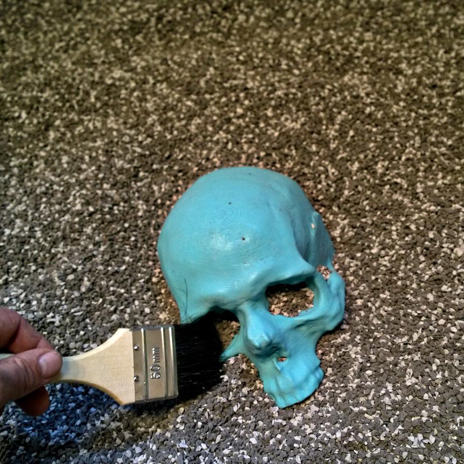 3D-modell av mänskligt kranium i den interaktiva utställningen Arkeoteket på Historiska museet i Stockholm.