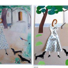 Flicka med hundar, som original och som 3D-utskriven bild.