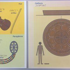 Svällpappersbilder i färg som visar kulturarvsföremål.