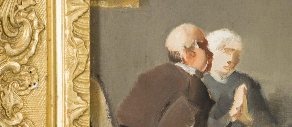 Utsnitt av en oljemålning, där den ornerade tavelramen i guld skymtar fram till vänster och en del av motivet, två skissartade människofigurer. Målningen är tunn och strukturen på underlaget syns igenom färgen.
