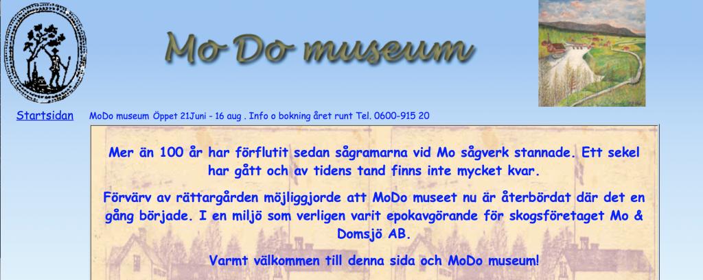 Skärmbild av MoDo museums startsida – övre delen