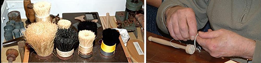 arbetsmaterial och arbetande händer i två olika bilder