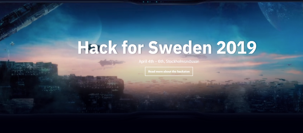 Startsida för Hack for Sweden 2019
