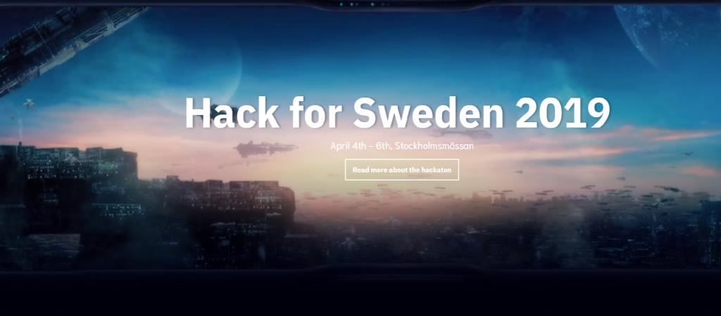 Startsida för Hack for Sweden 2019