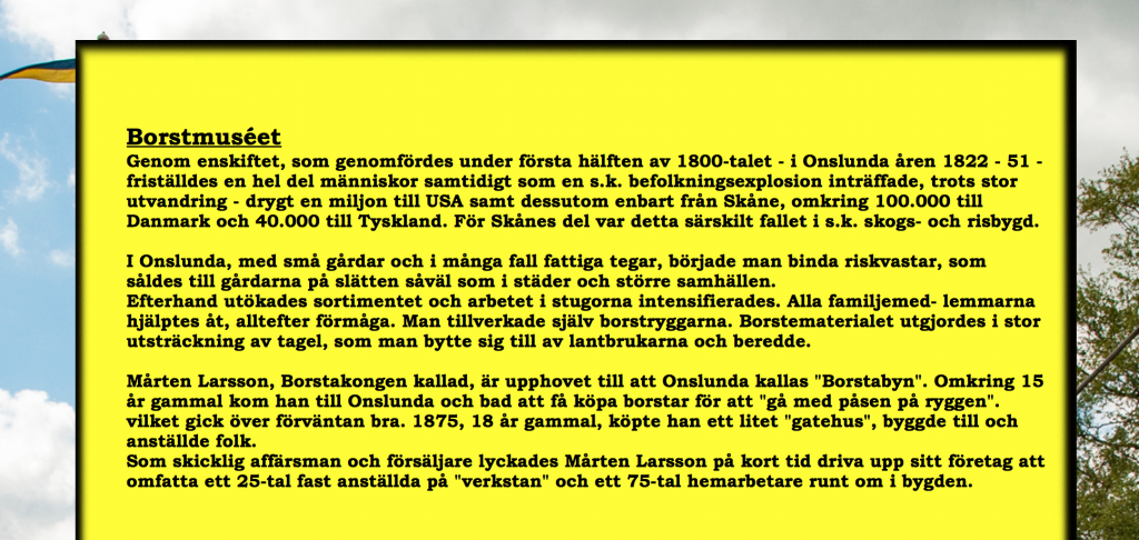 svart text mot gul bakgrund