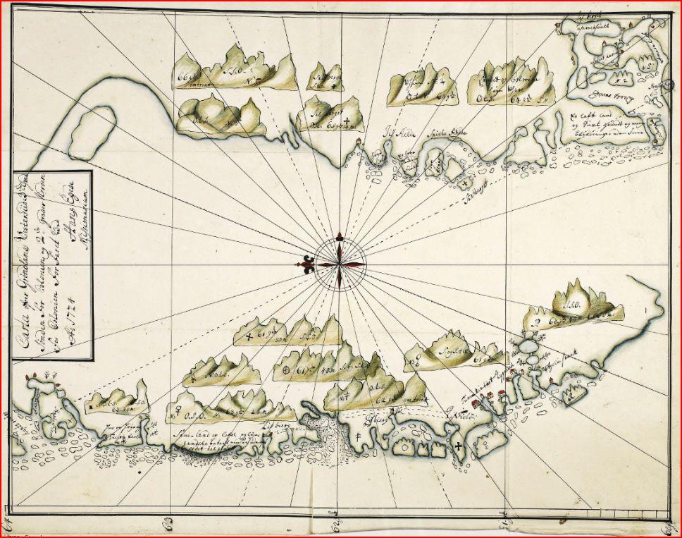 Karta över Grönland från 1724 av Hans Egede.