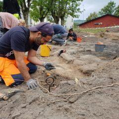 Museichef Christian Mühlenbock ligger böjd över utgrävningsplatsen och synar ett fynd.