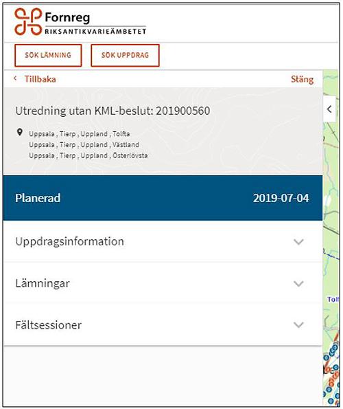 Bild som visar balkarna i Fornreg för Utredning utan KML-beslut.