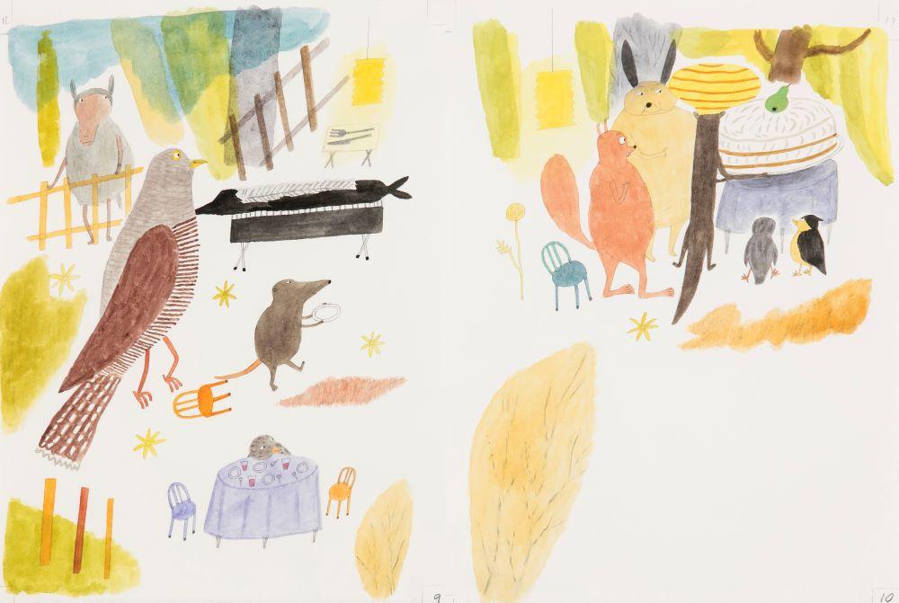 En akvarellillustration som föreställer olika djur.
